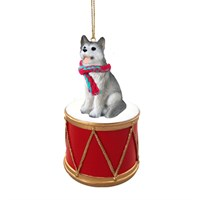 Siberian Husky Gray-White Brown Eyes Little Drummer Christmas Ornament