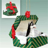 Siberian Husky Gift Box Christmas Ornament Black-White Brown Eyes