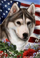 Siberian Husky House Flag Grey