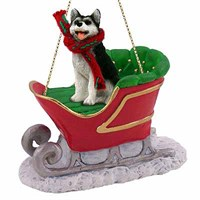 Siberian Husky Sleigh Ride Christmas Ornament Black and White Brown Eyes