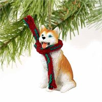 Siberian Husky Tiny One Christmas Ornament Red-White Blue Eyes