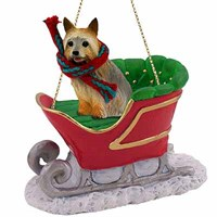 Silky Terrier Christmas Ornament Sleigh Ride