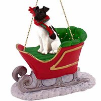 Smooth Fox Terrier Sleigh Ride Christmas Ornament Black and White