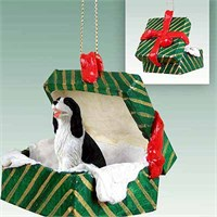 Springer Spaniel Gift Box Christmas Ornament Black and White