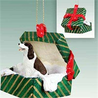Springer Spaniel Gift Box Christmas Ornament Liver-White