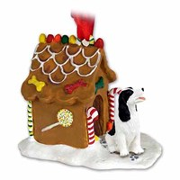Springer Spaniel Gingerbread House Christmas Ornament Black and White