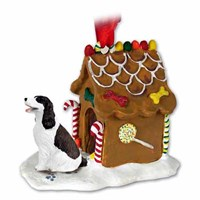 Springer Spaniel Gingerbread House Christmas Ornament Liver-White