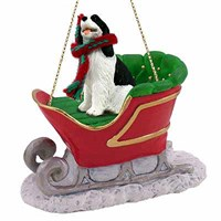 Springer Spaniel Sleigh Ride Christmas Ornament Black and White