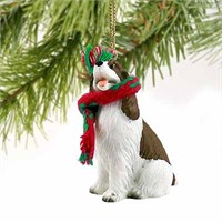 Springer Spaniel Tiny One Christmas Ornament Liver-White