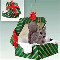 Squirrel Gift Box Christmas Ornament Gray