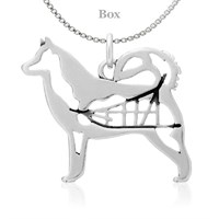 Sterling Silver Alaskan Malamute W/Sled Necklace