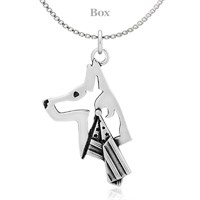 Belgian Malinois W/Flag Sterling Silver Necklace