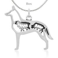 Belgian Malinois W/Sheep Sterling Silver Necklace
