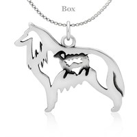 Belgian Sheepdog W/Sheep Sterling Silver Necklace