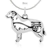Sterling Silver Bernese Mountain Dog With Cart Necklace