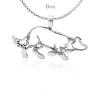 Sterling Silver Border Collie Necklace