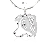 Border Collie Silhouette Sterling Silver Necklace
