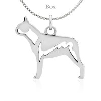 Boston Terrier Body Sterling Silver Necklace