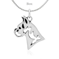 Boxer Head Sterling Silver Necklace