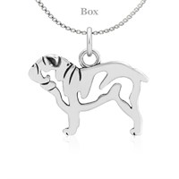 Bulldog Body Sterling Silver Necklace