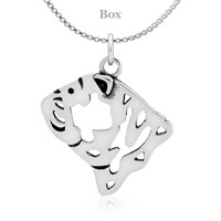 Bulldog Head Sterling Silver Necklace