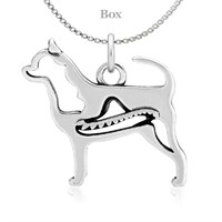 Chihuahua Body W/Sombrero Necklace Sterling Silver