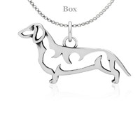 Dachshund Body Necklace Sterling Silver