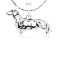 Dachshund Body W/Badger Necklace Sterling Silver