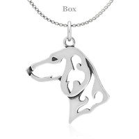 Dachshund Head Necklace Sterling Silver