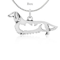 Dachshund Longhaired Body Necklace Sterling Silver