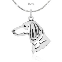 Dachshund Longhaired Head Necklace Sterling Silver