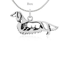 Dachshund Longhaired W/Badger Necklace Sterling Silver