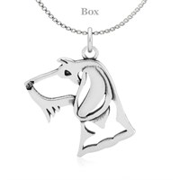 Dachshund Wire Hair Head Necklace Sterling Silver