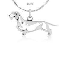 Dachshund Wirehaired Body Necklace Sterling Silver