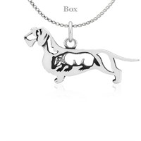 Dachshund Wirehaired W/Badger Necklace Sterling Silver