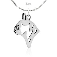 French Bulldog Head Necklace Sterling Silver