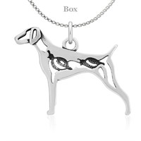 Sterling Silver German Shorthaired Pointer Body W/Quail Necklace