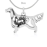 Gordon Setter Body W/Grouse Necklace Sterling Silver