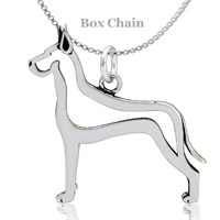 Great Dane Cropped Ears Body Necklace Sterling Silver