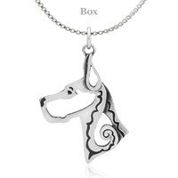 Great Dane Cropped Ears Head Necklace Sterling Silver