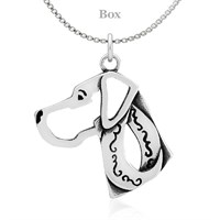 Great Dane Natural Ears Head Necklace Sterling Silver