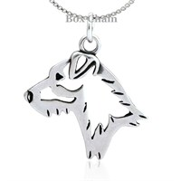 Sterling Silver Jack Russell Terrier Broken Coat Necklace