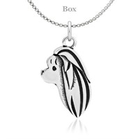 Maltese Head Necklace Sterling Silver