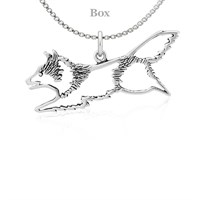 Shetland Sheepdog Jumping Necklace Sterling Silver