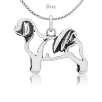 Sterling Silver Shih Tzu Bladed Cut Body Necklace