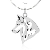 Siberian Husky Necklace Sterling Silver