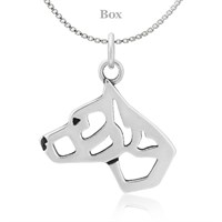 Staffordshire Bull Terrier Cropped Ears Necklace Sterling Silver