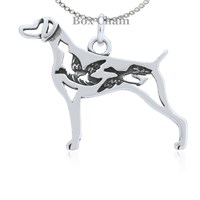 Weimaraner W/Ducks Necklace Sterling Silver