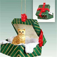 Tabby Cat Gift Box Christmas Ornament Red Shorthaired