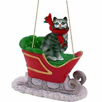 Tabby Cat Sleigh Ride Christmas Ornament Silver Shorthaired